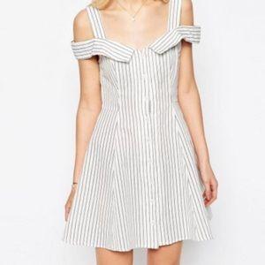 ASOS PETITE Stripe Off Shoulder Button Dress